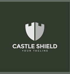 Shield and castle tower fortress building logo vector