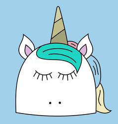 Simple hand drawn unicorn face vector