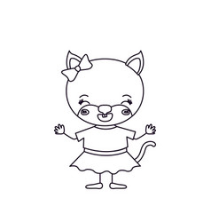Sketch silhouette cute female cat with bow lace vector