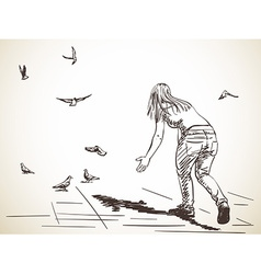 sketch woman from back and free flying doves hand vector image