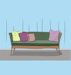 sofa is standing in a room vector image