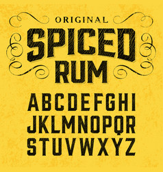 Spiced rum vintage style font with sample design vector