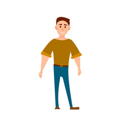 Sportive man in t-shirt and jeans full length vector