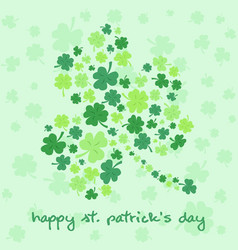 st patrick day clover greeting card vector image
