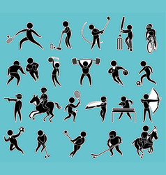 Sticker set of silhouette people doing sports vector