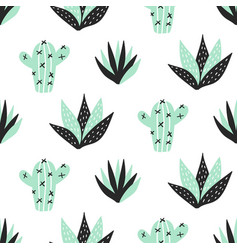Succulents plants seamless pattern vector