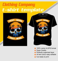 T-shirt template fully editable with skull summer vector