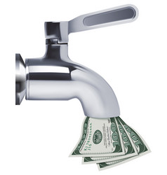 Tap pouring dollars down the drain 3d vector