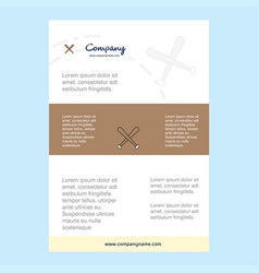 template layout for baseball bat comany profile vector image