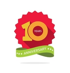 Tenth anniversary badge with shadow on red vector