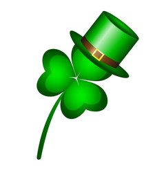 three-leaf clover in a cap hat symbol of st vector image