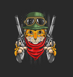 Tiger warrior with guns vector