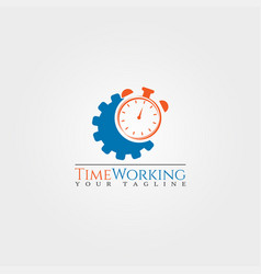 Time working logo template gear logo clock vector