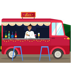 Truck with bartender making alcohol drink vector