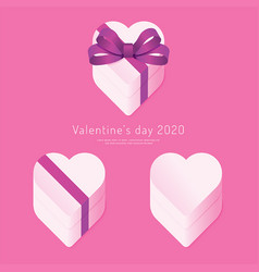 valentines day 2020 paper heart box concept vector image