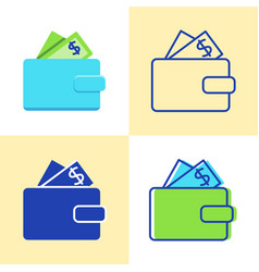 wallet with money icon set in flat and line style vector image