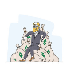 Wealth and prosperity rich male character sitting vector