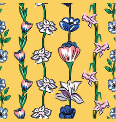 Wild flowers seamless pattern yellow background vector
