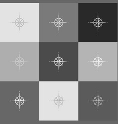 wind rose sign grayscale version of vector image