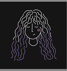 with line drawing young woman face fashion vector image