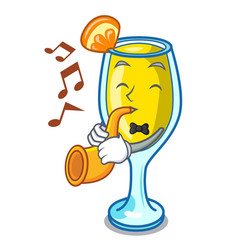 With trumpet mimosa mascot cartoon style vector