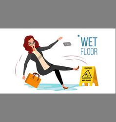 Woman slips on wet floor modern business vector