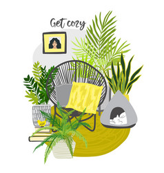 Yellow and gray urban jungle room with cozy chair vector