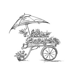 flower stall florist cart vector image