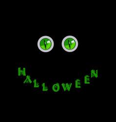 Halloween card green predatory monster eyes and vector