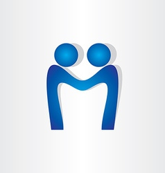 letter m agreement people handshake icon vector image