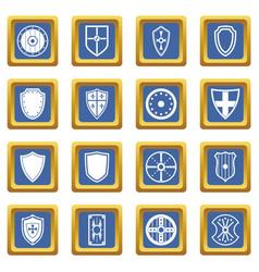 shield frames icons set blue vector image