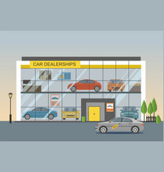 Car dealership showroom interior vector