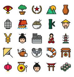 china icons set vector image vector image