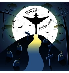 Dracula silhouette on moon background vector image
