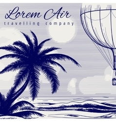 Hot air balloon ball pen poster vector image