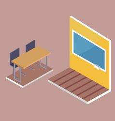 school desk side view and blackboard 3d vector image