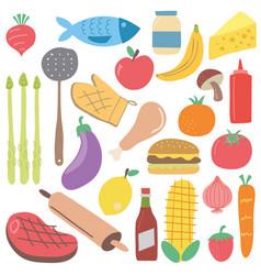 set of colorful cartoon fast food scandinavian vector image vector image