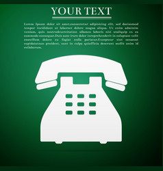 telephone icon on green background landline phone vector image