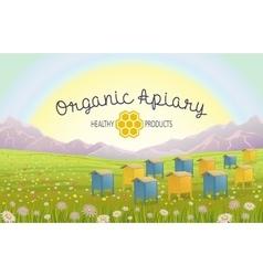 Apiary in alpine meadows mountains honey farm vector