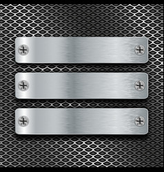 metal brushed plates with screws on perforated vector image vector image