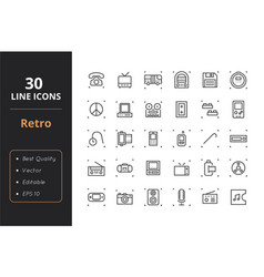 30 retro line icons vector image