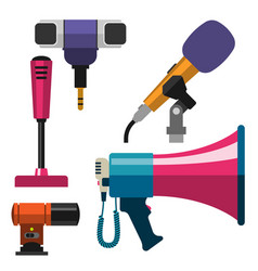 different microphones types icons journalist vector image