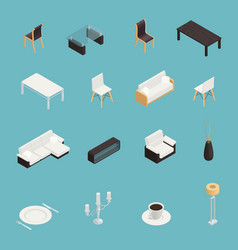 dining room interior icons set vector image vector image