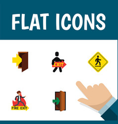flat icon exit set of entry emergency direction vector image