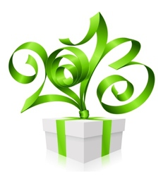 green ribbon in the shape of 2013 and gift box vector image vector image