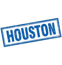 Houston blue square grunge stamp on white vector