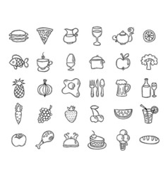Set of food and drinks icons for restaurant vector image