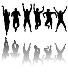 Set of young people silhouettes jumping vector image