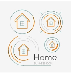 Thin line neat design logo set home idea vector image vector image