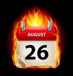 twenty-sixth august in calendar burning icon on vector image vector image